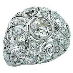 Art Deco 2.4 Carat Old European Diamond Bombe Ring