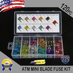 120pcs MINI Blade Fuse Assortment Car Motorcycle KIT ATM 7 Different Amperages  $8.99