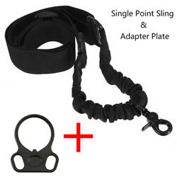 Tactical 1 One Single Point Sling + Plate Mount Adapter Black for Rifle Gun