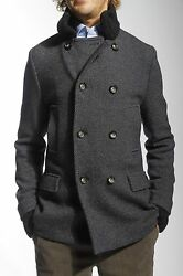 BALLANTYNE Beautiful Blue Cashmere and Wool Double Breasted Coat Jacket 46 IT