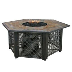 UniFlame Propane Gas Fire Pit 21 in. Electronic Ignition Stainless Steel Burner
