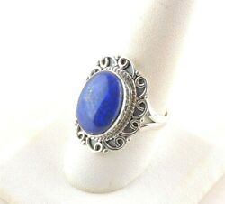 Sterling Silver 14 ct Oval Lapis Lazuli Ring