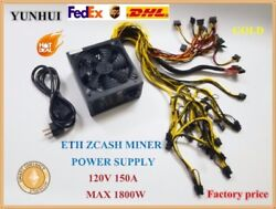 ETH ZCASH MINER power supply 1800W 12V 150A with power cable suitable for mine