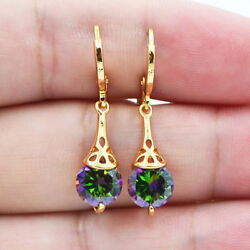 18K White Gold Filled Mystical Rainbow Topaz Hollow Round Women Earrings Jewelry