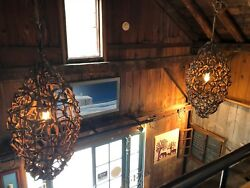 Pair of Natural Brown Vine Chandeliers Apx 4 Ft Length..one of a kind.