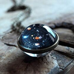 Solar System Necklace Pendant Planet NecklaceGalaxy S Double Sided Glass Dome