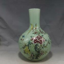 Chinese Old Marked Pea Green Glaze Famille Rose Flowers and Birds Porcelain Vase