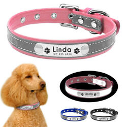 Reflective Dog Personalized Collars ID Name Engraved Soft Leather for Chihuahua $7.99
