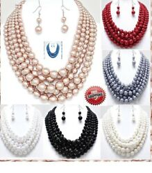 Row Layered Pearl Statement Necklace Beaded Multi Strand Chain Chunky Earrings