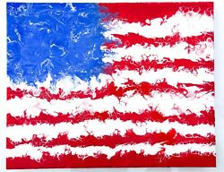 Abstract Wall Art Painting on Canvas American Flag $55.00