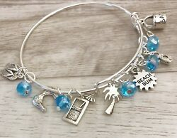 Beach Bum & beach Themed Silver charm Expandable Bangle Bracelet