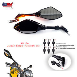 BLACK MOTORCYCLE MIRRORS WITH LED TURN SIGNALS INTEGRATED MIRRORS 810MM ADAPTER