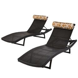 RST Brands Woven Wave Patio Chaise Lounger with Bolster (Set of 2)