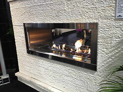 Napoleon Outdoor Gas Fireplace GSS48 Stainless Linear Modern two sided  See thru