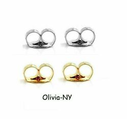 14K Yellow Or White Solid Gold Earring Backs 1 PAIR Butterfly - Choose Color