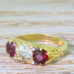 VICTORIAN 1.15ct OLD CUT DIAMOND & 1.20ct RUBY TRILOGY RING - 18k Gold - c 1900