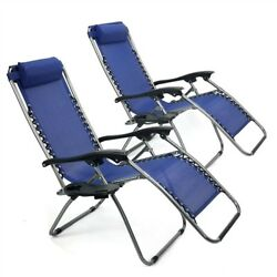 Set of 2 Navy Zero Gravity Reclining Beach Lounge Pool Outdoor Chairs