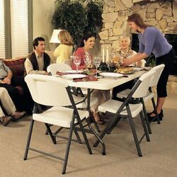 Lifetime 6 ft. Rectangle Commercial Folding Table and 8 Chair Set 1