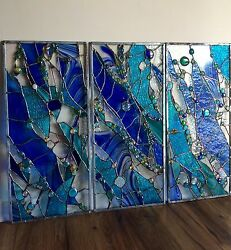 Abstract Stained Glass Window Transom Panel Contemporary Set of 3 $900.00