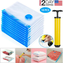 10 x Jumbo Vacuum Storage Bags Travel Space Saver Garment Seal Clothes Hand Pump $16.99
