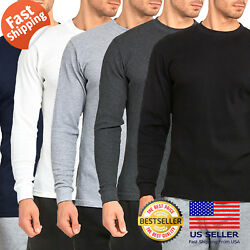 Mens 100% COTTON Medium Weight Thermal Shirts Warm Winter Long Sleeve Fit $13.95