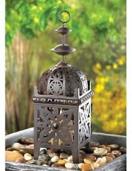 Small Exotic Moroccan Rustic Brown Candle Lantern