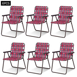 6pcs Folding Beach Chair Camping Lawn Webbing Chair Lightweight 1 Position Red
