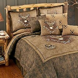 Whitetail Ridge 4 Pc Full Size Comforter Set-Hunting Deer Cabin Bedding Decor