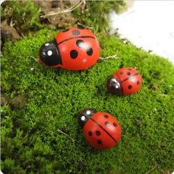 Mini Ladybug Artificial Wooden Beetle Diy Garden Plant Landscape Art Decor 10pcs