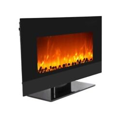35quot; Wall Mount Electric Fireplace Adjustable Heater Standing w Tempered Glass $469.98