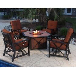 Oakland Living Haywood Deep Sitting 5 Piece Fire Pit Chat Set Brown 1