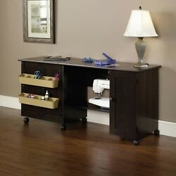 Sewing Craft Table Combo Adjustable Shelves Wood Cabinet She Shed Woman Cave