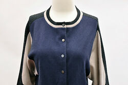 NWT.$2300 Brunello Cucinelli Womens 100% Cashmere Color-Block Cropped Cardigan M