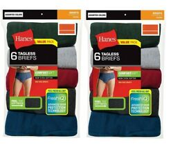 Hanes Mens 12 Pack Cotton Briefs Assorted Colors Tagless Comfort Soft Waistband $24.90