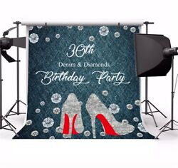 6X6FT 30th Birthday Party Banner Diamond Photography Vinyl Backgrounds Backdrops $13.29