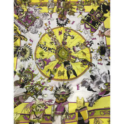 Hermes Carre 140 Shawl Stole Scarf KACHINAS Yellow Cashmere Silk Auth New Unused