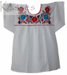 Mexican Peasant Blouse Hand Embroidered Top Colors Vintage Style Tunic White $16.88