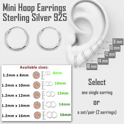 Mini Hoop Earring Sterling Silver 925 8mm 10mm 12mm 14mm 16mm Small Single/Pair $5.79