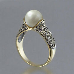 Vintage Wedding Ring for Women White Pearl 18k Yellow Gold Plated Ring Size 6-10
