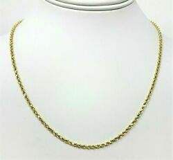 Real 10K Yellow Gold 2mm Diamond Cut Rope Chain Pendant Necklace 22''