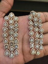 Pave 9.67 Cts Natural Diamonds Chandelier Earrings In Solid Certified 14K Gold