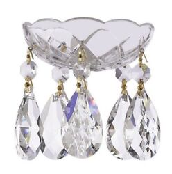 Asfour Lead Crystal Bobeche with Large Teardrop Chandelier Crystals Lamp Parts $21.99