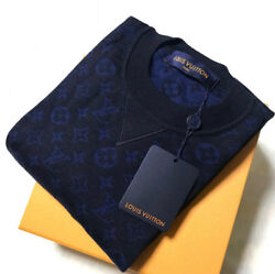 Louis Vuitton Monogram Knit Sweater Navy Blue Monogram Wool Cashmere Silk M size