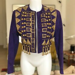 GIANNI VERSACE purple suede bolero with metal pieces and bead work from ss 1990