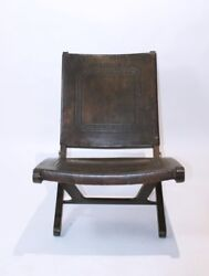 RARE VINTAGE 1970 '  MID CENTURY MODERN   TOOLED LEATHER FOLDING LOUNGE CHAIR
