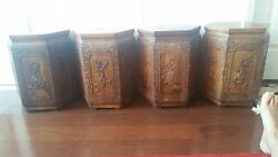 Rare Set of 4 Antique Chinese Rosewood Carved Stools in Lantern Shape
