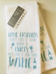 True Friends House Wine Kitchen Towel Set Of 2 Casaba Cute Whimsy Funny Cotton $19.88