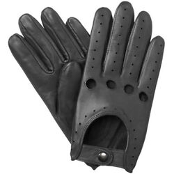 NEW MEN#x27;S CHAUFFEUR REAL LAMBSKIN SHEEP NAPPA LEATHER DRIVING GLOVES BLACK $18.00