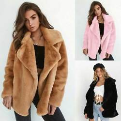 Women's Cardigan Coat Lapel Fuzzy Faux Shearling Outwear Jackets Warm Winter