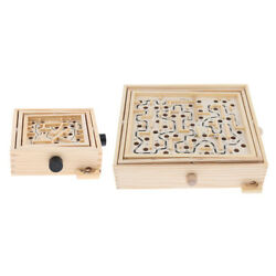 TRADITIONAL WOODEN LABYRINTH MAZE PUZZLE WITH TWO STEEL BALLS FOR KIDS ADULT
